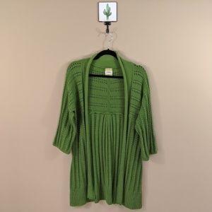 Fossil Green Open Knit Cardigan Sweater - XL